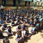 Teaching Material distribution at SSSVJ school, Bagalkot